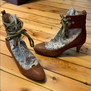 Miss L Fire leather & floral fabric boots size 39